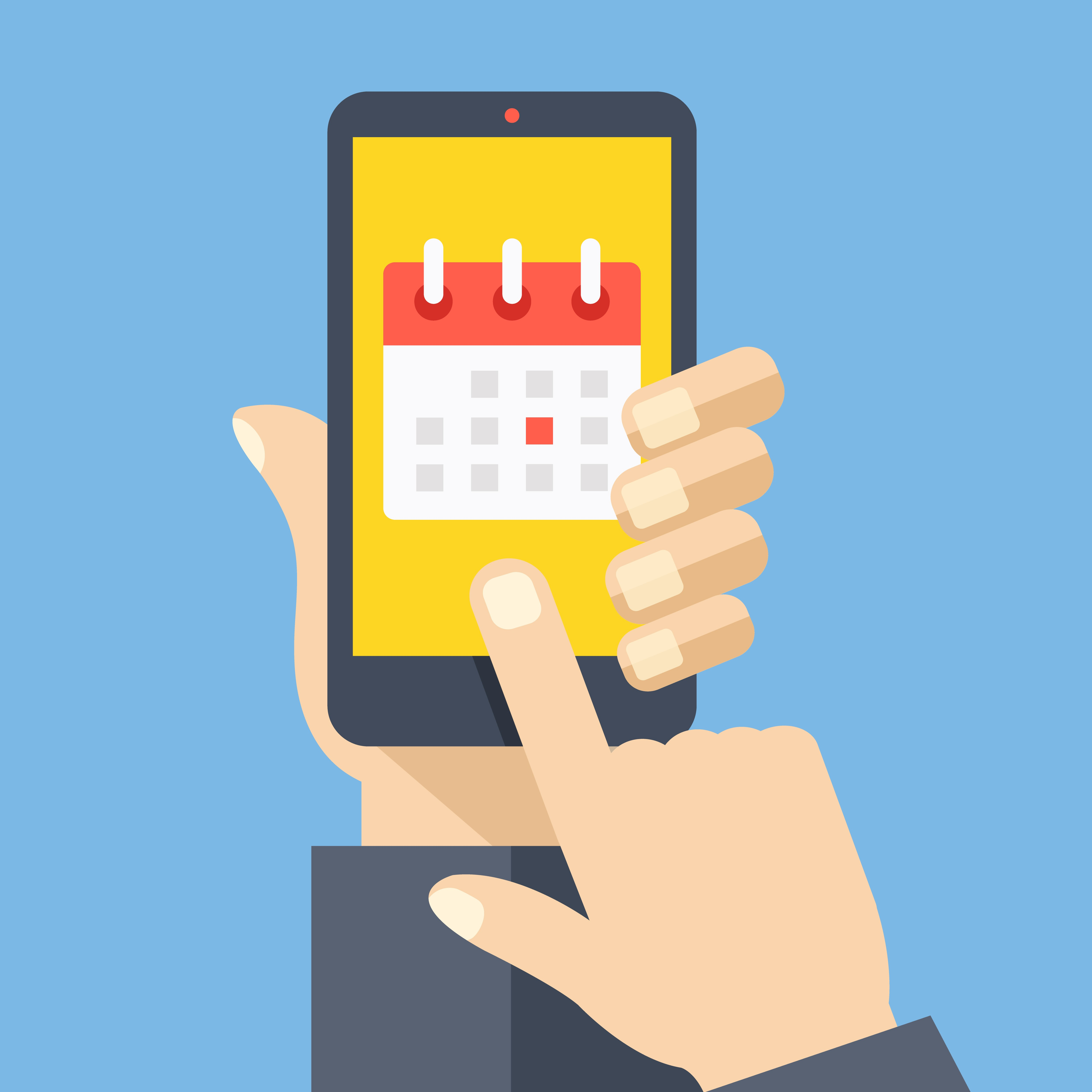 Graphic of a someone using a calendar on a smartphone.